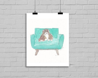Cat Sitting on A Chair Art Print Watercolor Painting