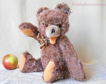Old teddy bear made in 1950s Germany by Hermann Teddy , named Zotty bear, 16 inch jointed brown long hair mohair teddy bear with open mouth