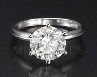 Diamond Engagement Ring 18K White Gold Women Round Cut H VS1 Certified 2.5 Carat Diamond Ring