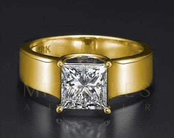 Princess Cut D VS1 1.7 ct Diamond Solitaire Ring Ladies 18 Karat Yellow Gold Engagement Ring For Women