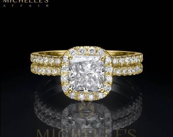 Women Diamond Rings Set 18K Yellow Gold 2.25 Carat D VS2 Cushion Cut Engagement Ring And Half Eternity Wedding Band