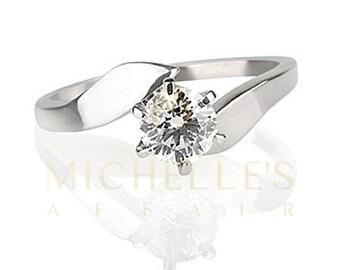 Women Diamond Wedding Ring 0.5 Carat F VVS1 Round Cut 14K White Gold Setting Size 4 5 6 7 8