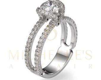 Women Round Cut Diamond Ring 14 Karat White Gold Setting Certified D VS1 1.75 Carat Diamond Engagement Ring For Her