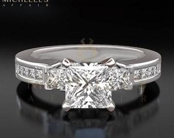 Women Diamond Engagement Ring 18 Karat White Gold 2.5 Carat F VVS2 Princess Cut Certified Diamond Wedding Ring