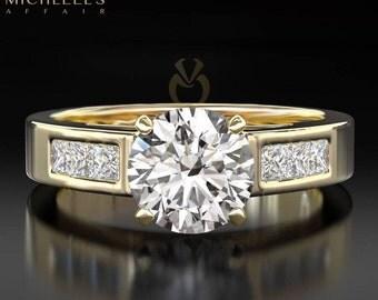 Women Diamond Engagement Ring 14 Karat Yellow Gold 1.1 Carat H VVS2 Round Cut Certified Diamond Wedding Ring