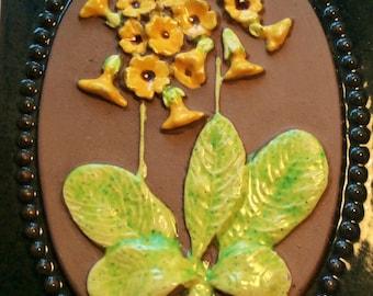 60s Swedish vintage retro ceramic plaque Jie Garntofta with a sweet mayflower.