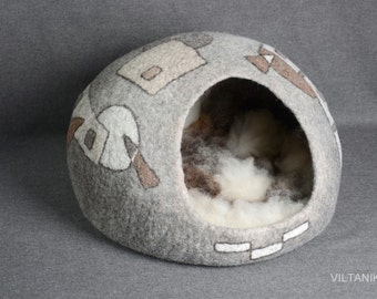 Luxurious felted cat house(bed),felted cat cave