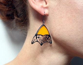 Gypsy earrings, Fall Colors, Orange Pumpkin, Bohemian Summer, Boho Hoop Earrings, Statement Earrings, Autumn fashion, thin hoops,