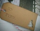 Brown Kraft Christmas Tree Gift Tags, Set of 12, Holiday Gift Tags, Christmas Gift Tags
