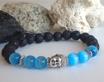 Intuition and grounding bracelet with black lava stone and Cat's eye (unisex)