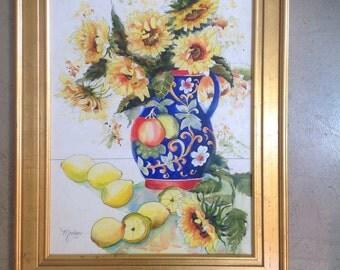 Italian lemons,sunflowers,pottery,pitcher,Italia,limoncello,