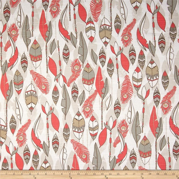 grey and coral shower curtain. Like this item  Fabric shower curtain 72 wide Premier Print Cheyenne