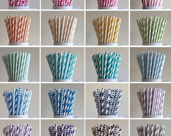 Paper Straws - 30 Mix and Match Variety Pack of Striped, Polka Dot, Chevron Party Straws Birthday Wedding Baby Shower Bridal Mix Graduation