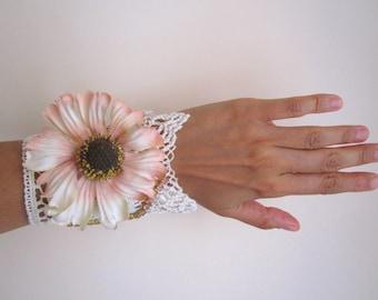 Textile Cuff Fabric Bracelet Vintage Cuff Embroidered Cuff Romantic Wedding Bracelet Fiber Wrist Bredesmaids Cuff Textile Wrist FREESHIPPING