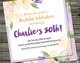 30th birthday invitation female adult purple floral watercolor square custom printable party invite double sided digital DIY