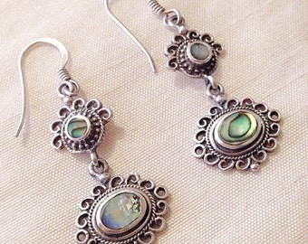 Gorgeous vintage sterling silver and abalone drop earrings