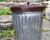 Antique vintage galvanized Trash Can with original lid, metal garbage pail,original bail handle,RARE SIZE,good condition,kitchen waste pail