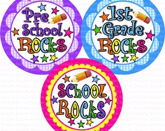 School Rocks (3) Bottle Cap Images 4x6 Bottlecap Collage Scrapbooking Jewelry Hairbow Center