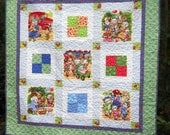 Retro Vintage Look Picnic Kittens and Puppies Made to Order Quilted Baby Toddler Play Mat Nursery Decor Wheelchair Lap Quilt or Wall Hanging