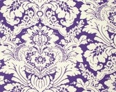 SALE 1 yard Caravelle Arcade Fabric Bonnie in Purple by Jennifer Paganelli - Purple and white damask Free Spirit - Sis Boom - Shabby Chic