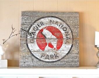 Glacier National Park, Montana Art, Glacier Park, National Parks, Barnwood Sign, Salvaged Wood Art, Rustic Art, Mountain Goat, Salvage Signs