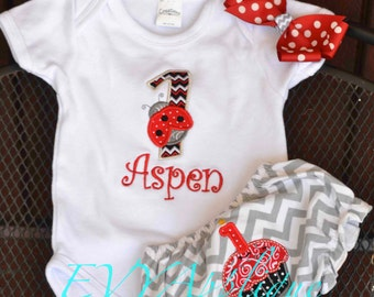 Ladybug First (1st) Birthday Outfit for Cake Smash - Red and Black - Personalized Birthday ladybug outfit!