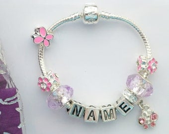 childrens any name bracelet butterfly crystal pendant charm personalised kids bracelet in gift box or pouch
