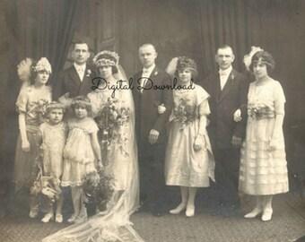 Jazz Age/Roaring Twenties Wedding Party Studio Portrait, Antique Vintage 1922 Photograph, Scrap Booking, Mixed Media, PDF, Digital Download