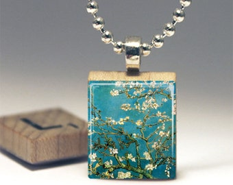 Van Gogh Almond Blossoms Scrabble Tile Pendant Necklace or Key Chain Altered Art gift