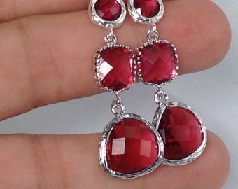 Ruby / Silver Long Bridesmaid Earrings Scarlet Earrings Long Drop Dangle Earrings Red Wedding Earrings Ruby Earrings Ali7