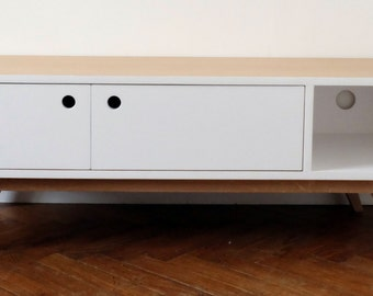 Satin white Scandinavian TV 2 hinged doors Cabinet