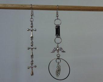 Silver Dangle Gothic Earrings, Silver Gothic Earrings, Wiccan Earrings, Silver Pagan Earrings, Asymmetrical Earrings, Pentagram Earrings