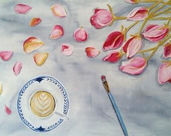 Medium painting canvas acrylic coffee roses 18x24