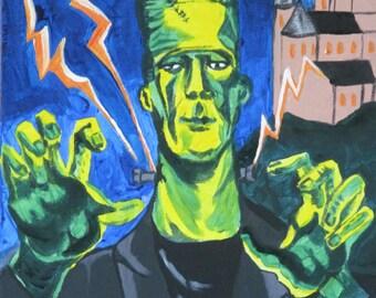 Frankenstein, acrylic painting, canvas, horror, creepy, films