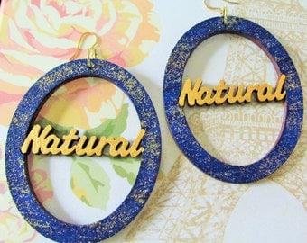 "Blue and Gold ""Natural"" Earrings"