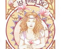 Large A3 Print of Les Fleurs de Magnolia, Magnolia illustrations, Bohemian poster, Art Nouveau Art, Mucha Style Poster. Giclee Print