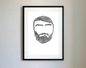 Bearded Man Illustration Print.