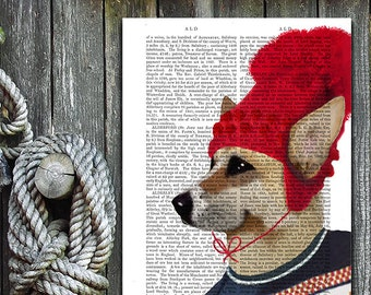 Corgi Art Print - Red Ski hat - corgi poster corgi wall decor corgi illustration corgi picture corgi gift for corgi lover corgi Print