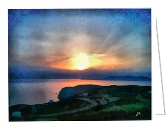 Sifnos Sunset #2 - Set of 6 blank notecards and envelopes by GreekVisions.com