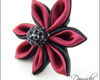 Black and Red Kanzashi Flower - Brooch/Hair Clip