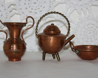 3 miniature copper pots from holland urn kettle bowl - Copper Pots