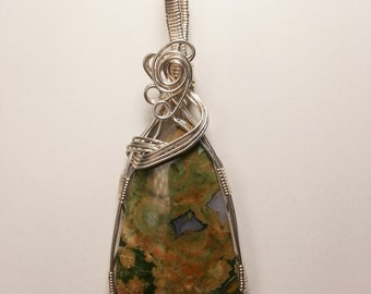Variegated Jasper Sterling Silver Wire Wrapped Pendant