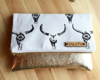 Fold over clutch, Leather clutch, Original Print,Cow skull Fold Over Clutch, Gold Clutch, Gold Leather, Statement Clutch