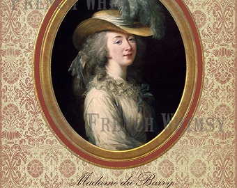 Large Matted Portrait Miniature of the Countess du Barry, french royal mistress to Louis XV. Digital Download,High Res, 8.5 x 11 in.