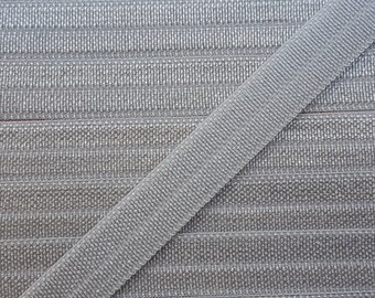 3/8 SILVER Fold Over Elastic 5 or 10 Yards
