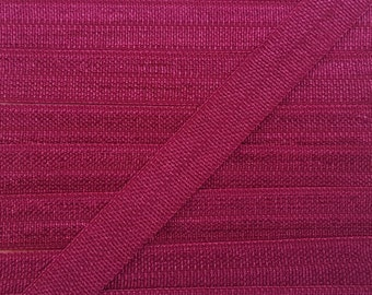 3/8 WINE Fold Over Elastic 5 or 10 Yards