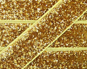 5/8 Inch GOLD Glitter Fold Over Elastic