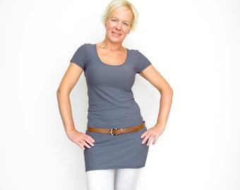 Grey Tunic Dress - Dress Shirt - Tunic top - Gray Long Top