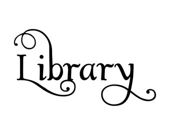 """Library - Bathroom Door Sign - Vinyl Decal Sticker - 8"""" x 4.25"""" Reading Room Water Closet *Free Shipping*"""