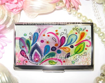Business Card Holder, Card Holder, Cigarette Case, Business Card Case, Stainless Steel, Card Case,  Credit Card Case, Watercolour Flowers.